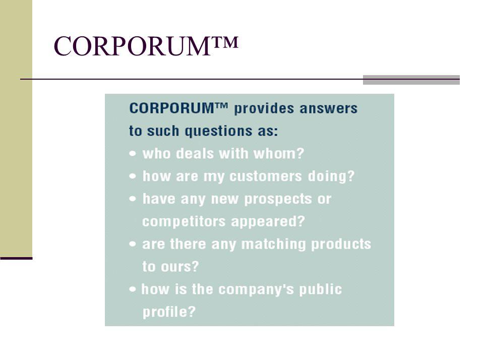 CORPORUM™ Summarizer CORPORUM™ Knowledge Server CORPORUM™ Business Intelligence Portal CORPORUM™ Knowledge Factory