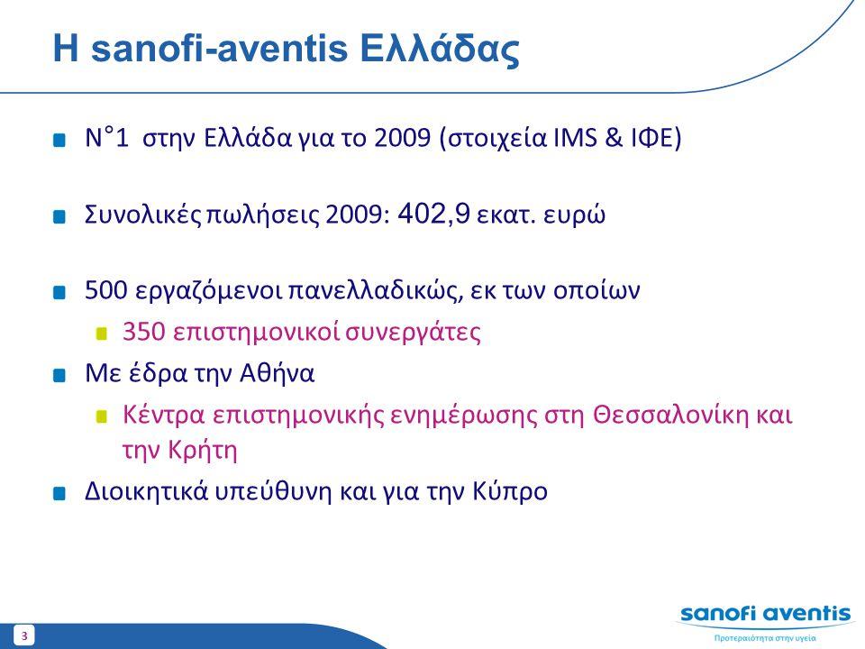 3 Η sanofi-aventis Ελλάδας N°1 στην Ελλάδα για το 2009 (στοιχεία IMS & ΙΦΕ) Συνολικές πωλήσεις 2009: 402,9 εκατ. ευρώ 500 εργαζόμενοι πανελλαδικώς, εκ