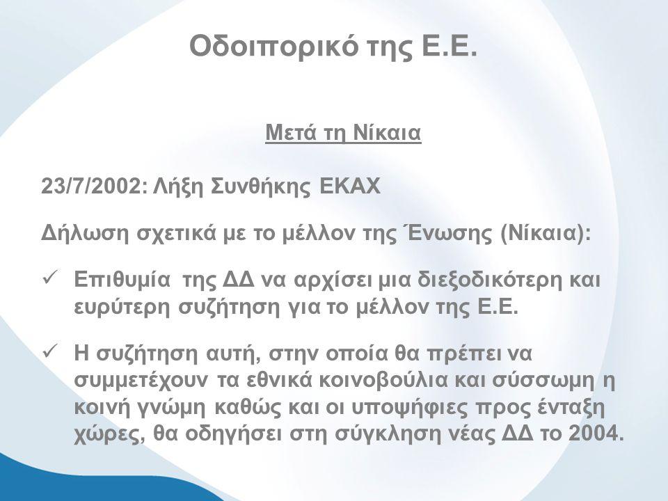Οδοιπορικό της Ε.Ε. Μετά τη Νίκαια 23/7/2002: Λήξη Συνθήκης ΕΚΑΧ Δήλωση σχετικά με το μέλλον της Ένωσης (Νίκαια): Επιθυμία της ΔΔ να αρχίσει μια διεξο