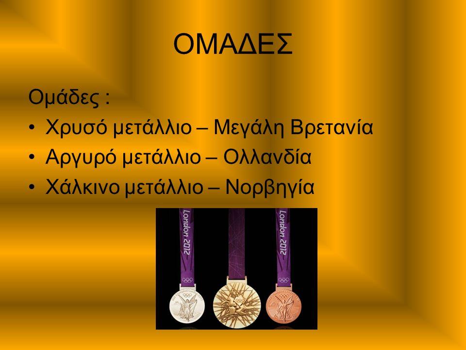 ΟΜΑΔΕΣ Ομάδες : Χρυσό μετάλλιο – Μεγάλη Βρετανία Αργυρό μετάλλιο – Ολλανδία Χάλκινο μετάλλιο – Νορβηγία