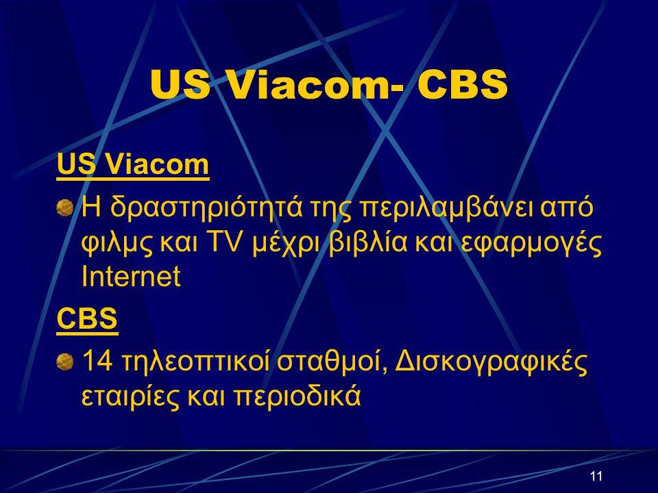 11 US Viacom- CBS US Viacom Η δραστηριότητά της περιλαμβάνει από φιλμς και TV μέχρι βιβλία και εφαρμογές Internet CBS 14 τηλεοπτικοί σταθμοί, Δισκογραφικές εταιρίες και περιοδικά
