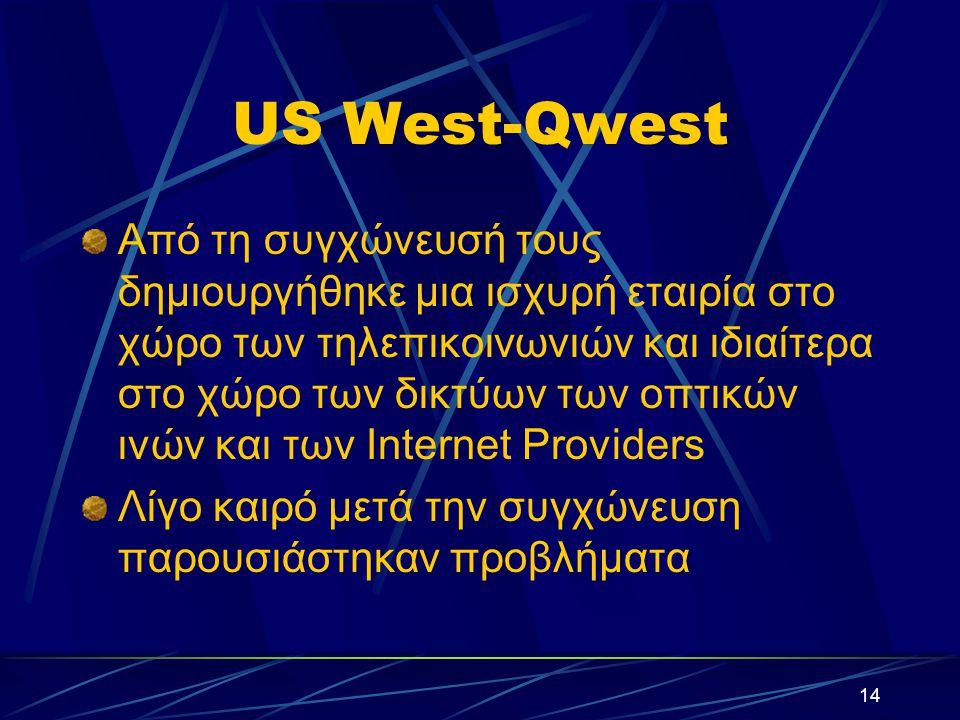 14 US West-Qwest Από τη συγχώνευσή τους δημιουργήθηκε μια ισχυρή εταιρία στο χώρο των τηλεπικοινωνιών και ιδιαίτερα στο χώρο των δικτύων των οπτικών ινών και των Internet Providers Λίγο καιρό μετά την συγχώνευση παρουσιάστηκαν προβλήματα