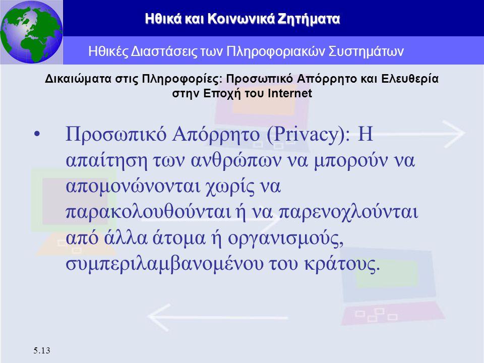 Ηθικά και Κοινωνικά Ζητήματα 5.13 Προσωπικό Απόρρητο (Privacy): Η απαίτηση των ανθρώπων να μπορούν να απομονώνονται χωρίς να παρακολουθούνται ή να παρ