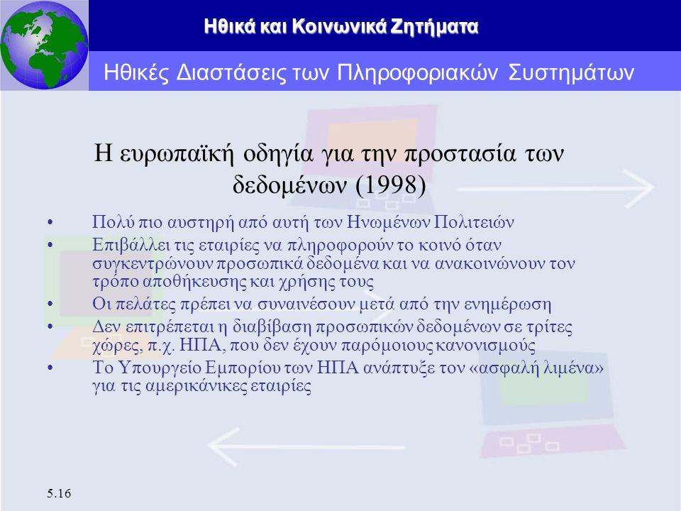 Ηθικά και Κοινωνικά Ζητήματα 5.16 Η ευρωπαϊκή οδηγία για την προστασία των δεδομένων (1998) Πολύ πιο αυστηρή από αυτή των Ηνωμένων Πολιτειών Επιβάλλει