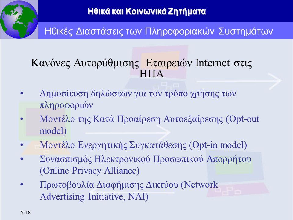 Ηθικά και Κοινωνικά Ζητήματα 5.18 Κανόνες Αυτορύθμισης Εταιρειών Internet στις ΗΠΑ Δημοσίευση δηλώσεων για τον τρόπο χρήσης των πληροφοριών Μοντέλο τη