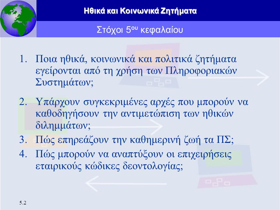 Ηθικά και Κοινωνικά Ζητήματα 5.23 Κοινωνικά ζητήματα «Προσδοκίες Προσωπικού Απορρήτου», πρότυπα προσωπικού απορρήτου Πρέπει οι άνθρωποι να έχουν προσδοκίες προστασίας προσωπικού απορρήτου όταν χρησιμοποιούν το ηλεκτρονικό ταχυδρομείο, τα κινητά τηλέφωνα, τους ηλεκτρονικούς πίνακες ανακοινώσεων, το ταχυδρομικό σύστημα, κ.α.