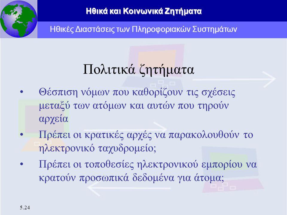 Ηθικά και Κοινωνικά Ζητήματα 5.24 Πολιτικά ζητήματα Θέσπιση νόμων που καθορίζουν τις σχέσεις μεταξύ των ατόμων και αυτών που τηρούν αρχεία Πρέπει οι κ