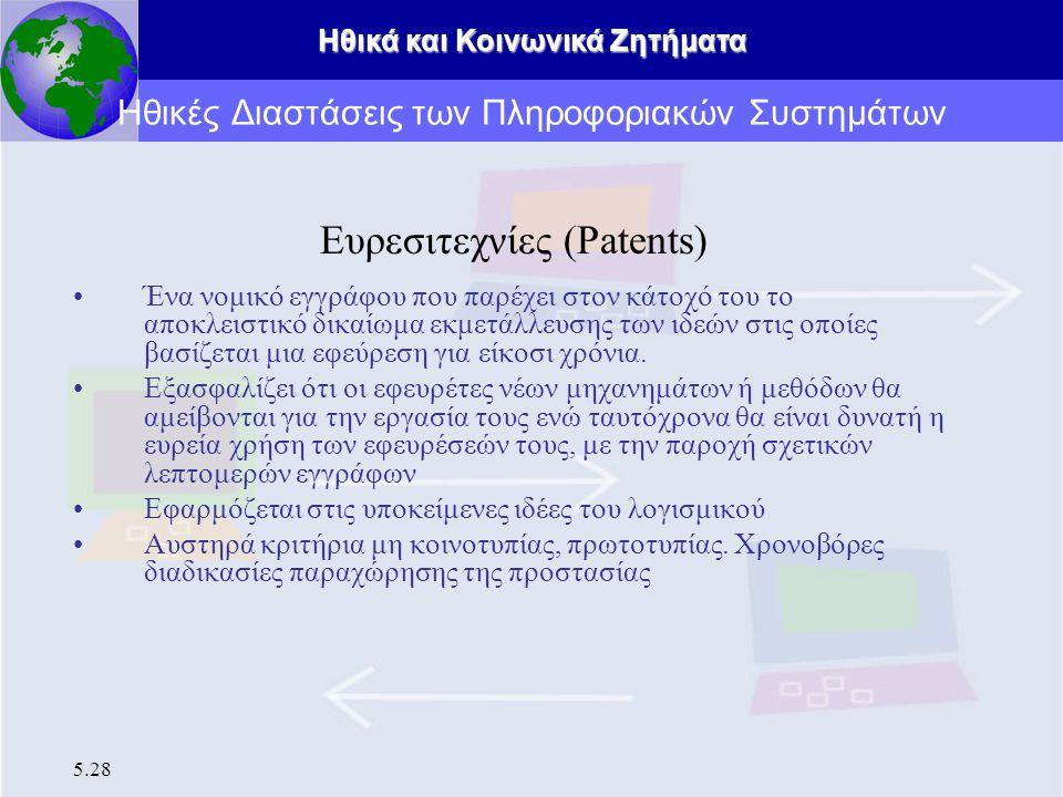 Ηθικά και Κοινωνικά Ζητήματα 5.28 Ευρεσιτεχνίες (Patents) Ένα νομικό εγγράφου που παρέχει στον κάτοχό του το αποκλειστικό δικαίωμα εκμετάλλευσης των ι
