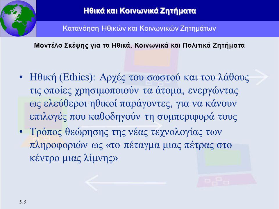 Ηθικά και Κοινωνικά Ζητήματα 5.3 Ηθική (Ethics): Αρχές του σωστού και του λάθους τις οποίες χρησιμοποιούν τα άτομα, ενεργώντας ως ελεύθεροι ηθικοί παρ