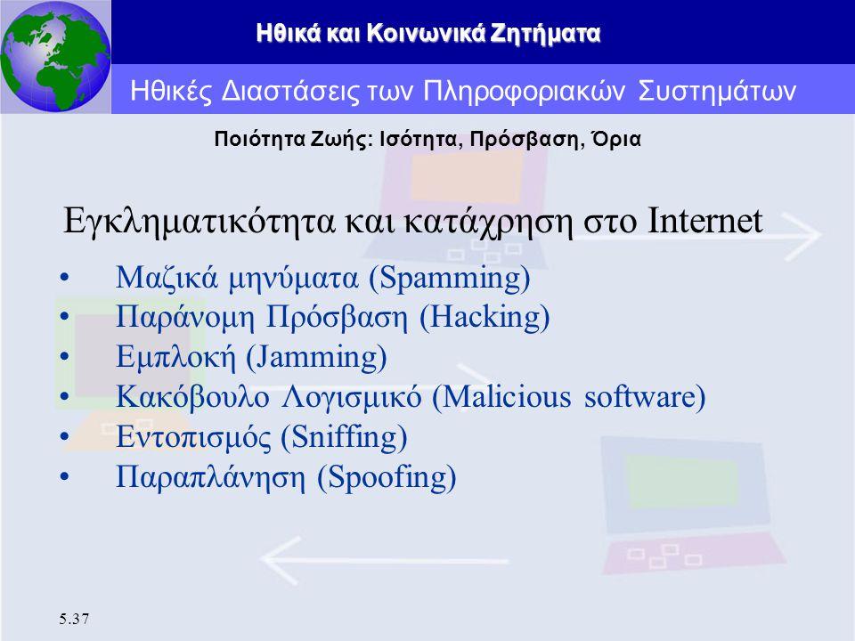 Ηθικά και Κοινωνικά Ζητήματα 5.37 Εγκληματικότητα και κατάχρηση στο Internet Μαζικά μηνύματα (Spamming) Παράνομη Πρόσβαση (Hacking) Εμπλοκή (Jamming)