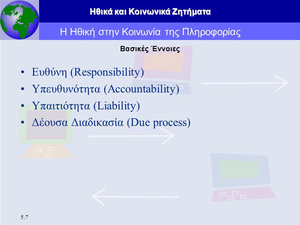 Ηθικά και Κοινωνικά Ζητήματα 5.7 Ευθύνη (Responsibility) Υπευθυνότητα (Accountability) Υπαιτιότητα (Liability) Δέουσα Διαδικασία (Due process) Η Ηθική
