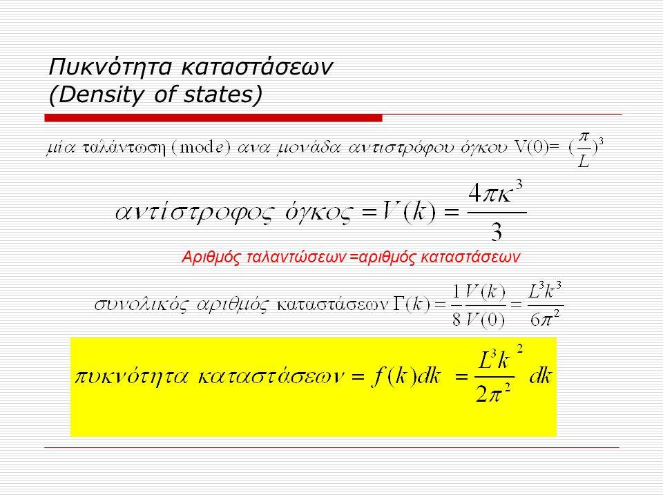 Πυκνότητα καταστάσεων (Density of states) Αριθμός ταλαντώσεων =αριθμός καταστάσεων