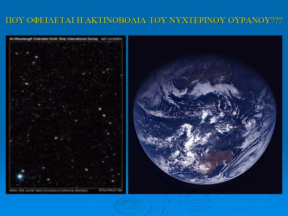 Το φαινόμενο της εκπομπής ακτινοβολίας από την ατμόσφαιρα τη νύχτα(airglow) αποτελεί μόνο μία από τις συνιστώσες του φωτός που υπάρχει στο νυχτερινό ουρανό.