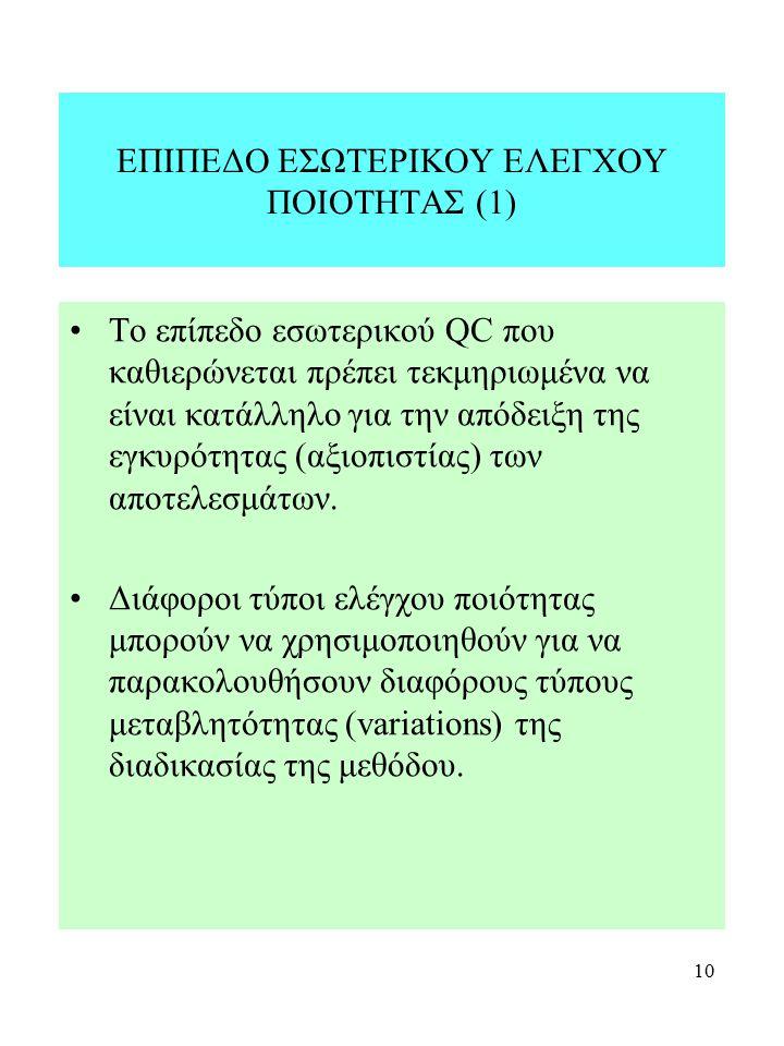 10 ΕΠΙΠΕΔΟ ΕΣΩΤΕΡΙΚΟΥ ΕΛΕΓΧΟΥ ΠΟΙΟΤΗΤΑΣ (1) Το επίπεδο εσωτερικού QC που καθιερώνεται πρέπει τεκμηριωμένα να είναι κατάλληλο για την απόδειξη της εγκυ