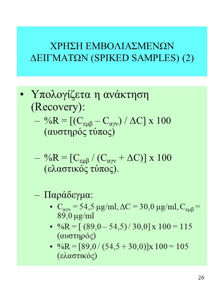 26 ΧΡΗΣΗ ΕΜΒΟΛΙΑΣΜΕΝΩΝ ΔΕΙΓΜΑΤΩΝ (SPIKED SAMPLES) (2) Υπολογίζετα η ανάκτηση (Recovery): –%R = [(C εμβ – C αγν ) / ΔC] x 100 (αυστηρός τύπος) –%R = [C