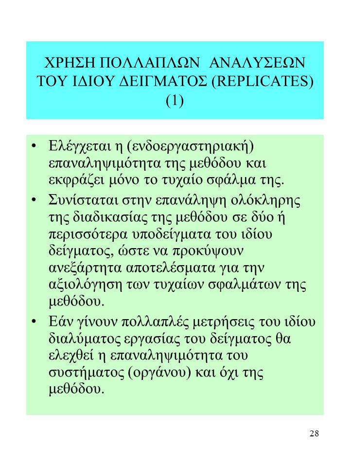 28 ΧΡΗΣΗ ΠΟΛΛΑΠΛΩΝ ΑΝΑΛΥΣΕΩΝ ΤΟΥ ΙΔΙΟΥ ΔΕΙΓΜΑΤΟΣ (REPLICATES) (1) Ελέγχεται η (ενδοεργαστηριακή) επαναληψιμότητα της μεθόδου και εκφράζει μόνο το τυχα