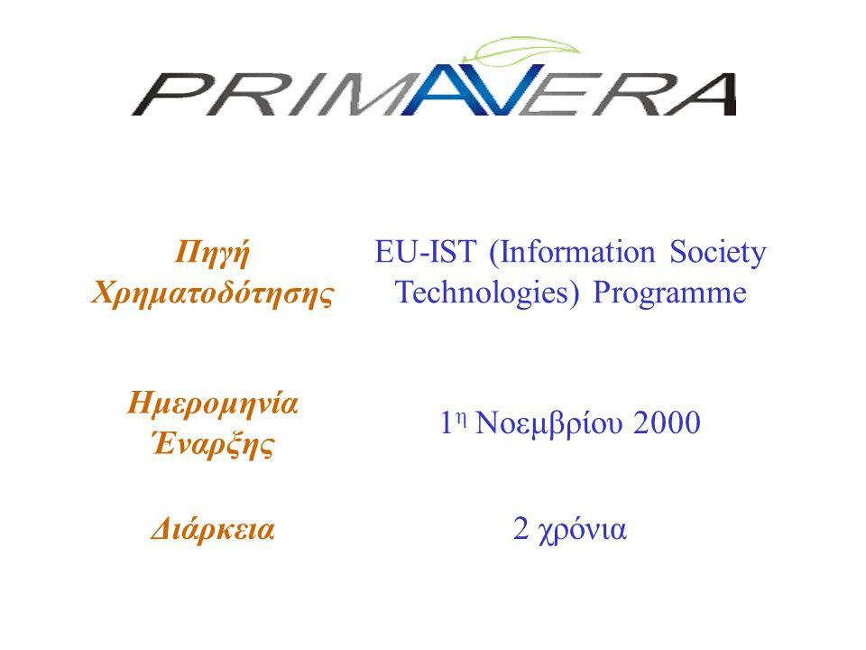 Πηγή Χρηματοδότησης EU-IST (Information Society Technologies) Programme Ημερομηνία Έναρξης 1 η Νοεμβρίου 2000 Διάρκεια2 χρόνια