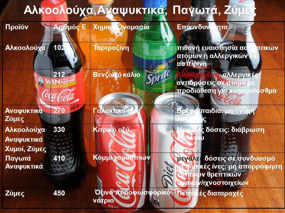 Αλκοολούχα,Αναψυκτικά, Παγωτά, Ζύμες ΠροϊόνΑριθμός ΕΧημική ΟνομασίαΕπικινδυνότητα Αλκοολούχα102Ταρτραζίνηπιθανή ευαισθησία ασθματικών ατόμων ή αλλεργι