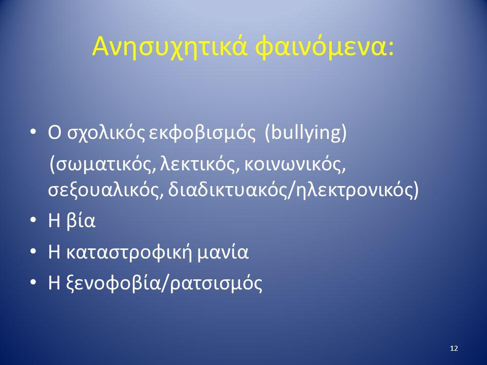 Ανησυχητικά φαινόμενα: Ο σχολικός εκφοβισμός (bullying) (σωματικός, λεκτικός, κοινωνικός, σεξουαλικός, διαδικτυακός/ηλεκτρονικός) Η βία Η καταστροφική μανία Η ξενοφοβία/ρατσισμός 12