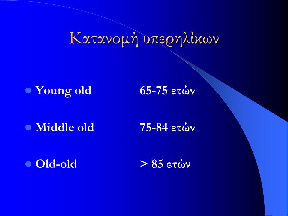 Κατανομή υπερηλίκων Young old65-75 ετών Middle old75-84 ετών Old-old > 85 ετών