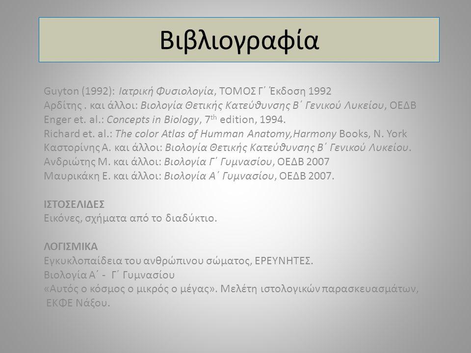 Βιβλιογραφία Guyton (1992): Ιατρική Φυσιολογία, ΤΟΜΟΣ Γ΄ Έκδοση 1992 Αρδίτης. και άλλοι: Βιολογία Θετικής Κατεύθυνσης Β΄ Γενικού Λυκείου, ΟΕΔΒ Enger e