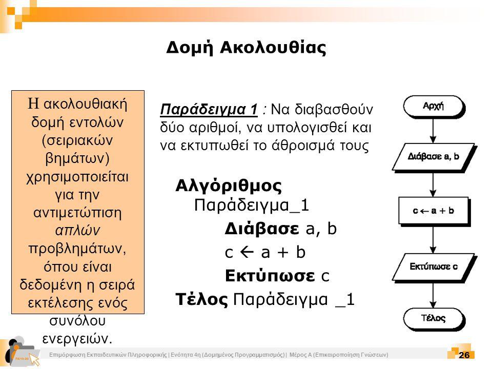 Επιμόρφωση Εκπαιδευτικών Πληροφορικής | Ενότητα 4η (Δομημένος Προγραμματισμός) | Μέρος Α (Επικαιροποίηση Γνώσεων) 26 Η ακολουθιακή δομή εντολών (σειρι