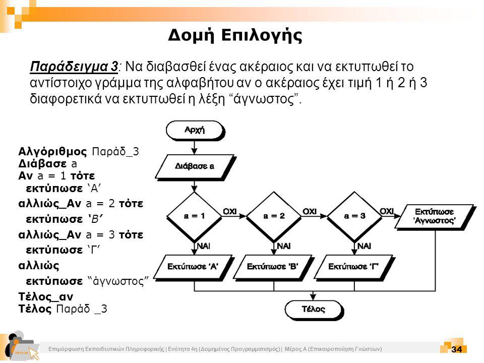 Επιμόρφωση Εκπαιδευτικών Πληροφορικής | Ενότητα 4η (Δομημένος Προγραμματισμός) | Μέρος Α (Επικαιροποίηση Γνώσεων) 34 Παράδειγμα 3: Να διαβασθεί ένας α