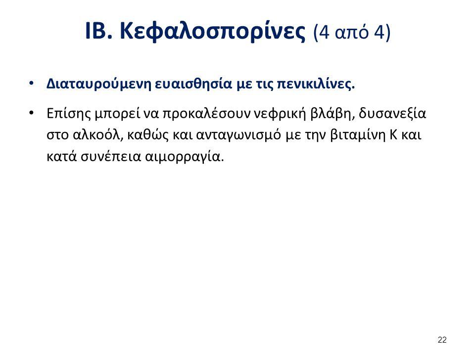 ΙΒ.Κεφαλοσπορίνες (4 από 4) Διαταυρούμενη ευαισθησία με τις πενικιλίνες.