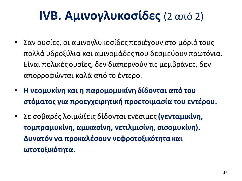 IVΓ.Χλωραμφαινικόλη (1 από 2) Αναστέλλει την συνθετάση των πεπτιδίων.