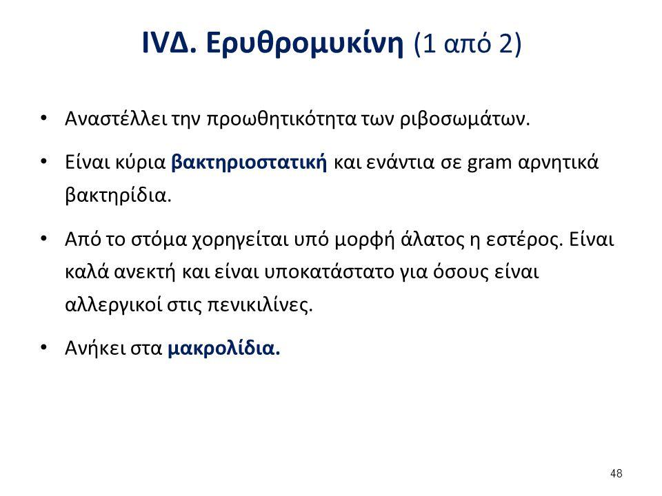IVΔ.Ερυθρομυκίνη (1 από 2) Αναστέλλει την προωθητικότητα των ριβοσωμάτων.