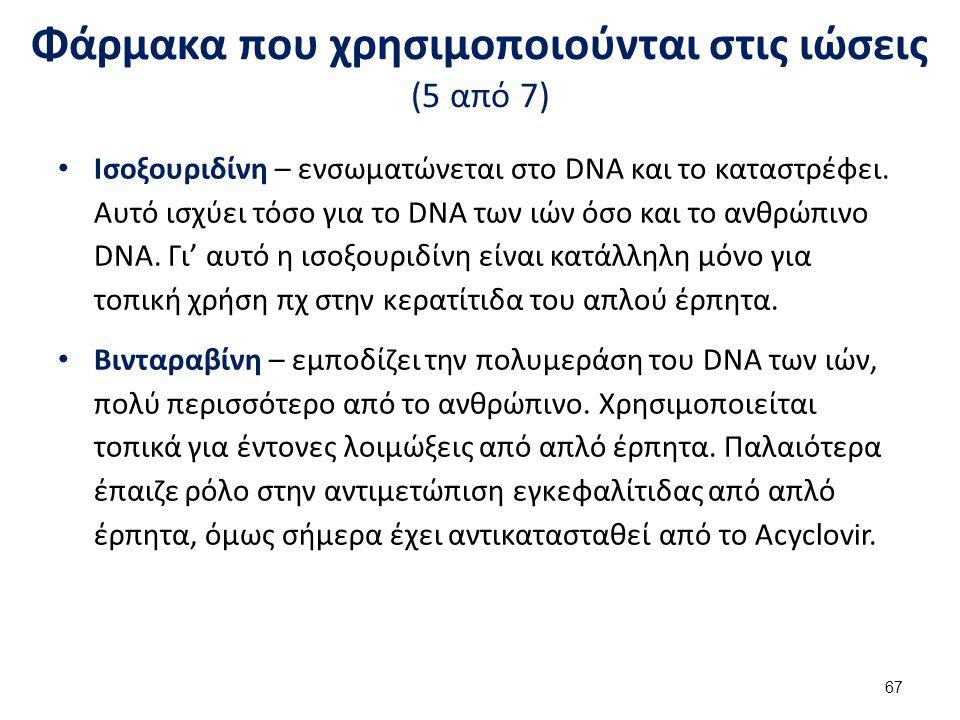 Φάρμακα που χρησιμοποιούνται στις ιώσεις (5 από 7) Ισοξουριδίνη – ενσωματώνεται στο DNA και το καταστρέφει.