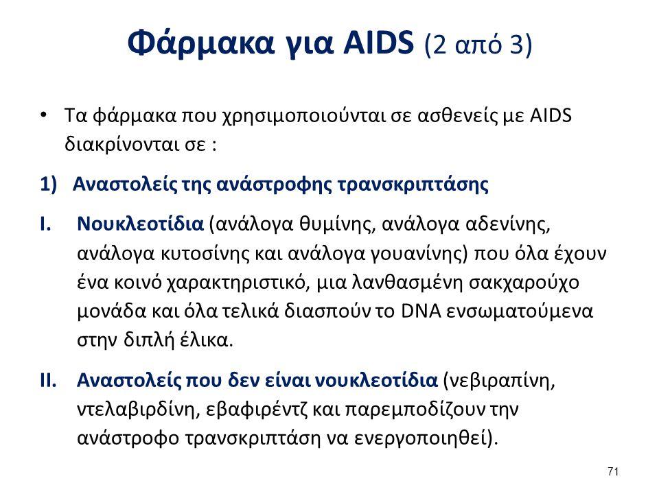 Φάρμακα για AIDS (2 από 3) Τα φάρμακα που χρησιμοποιούνται σε ασθενείς με AIDS διακρίνονται σε : 1)Αναστολείς της ανάστροφης τρανσκριπτάσης I.Νουκλεοτίδια (ανάλογα θυμίνης, ανάλογα αδενίνης, ανάλογα κυτοσίνης και ανάλογα γουανίνης) που όλα έχουν ένα κοινό χαρακτηριστικό, μια λανθασμένη σακχαρούχο μονάδα και όλα τελικά διασπούν το DNA ενσωματούμενα στην διπλή έλικα.
