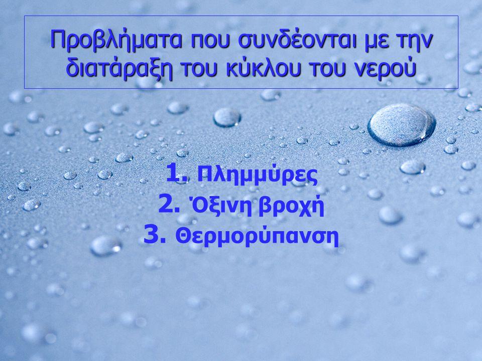 Προβλήματα που συνδέονται με την διατάραξη του κύκλου του νερού 1. 1. Πλημμύρες 2. 2. Όξινη βροχή 3. 3. Θερμορύπανση