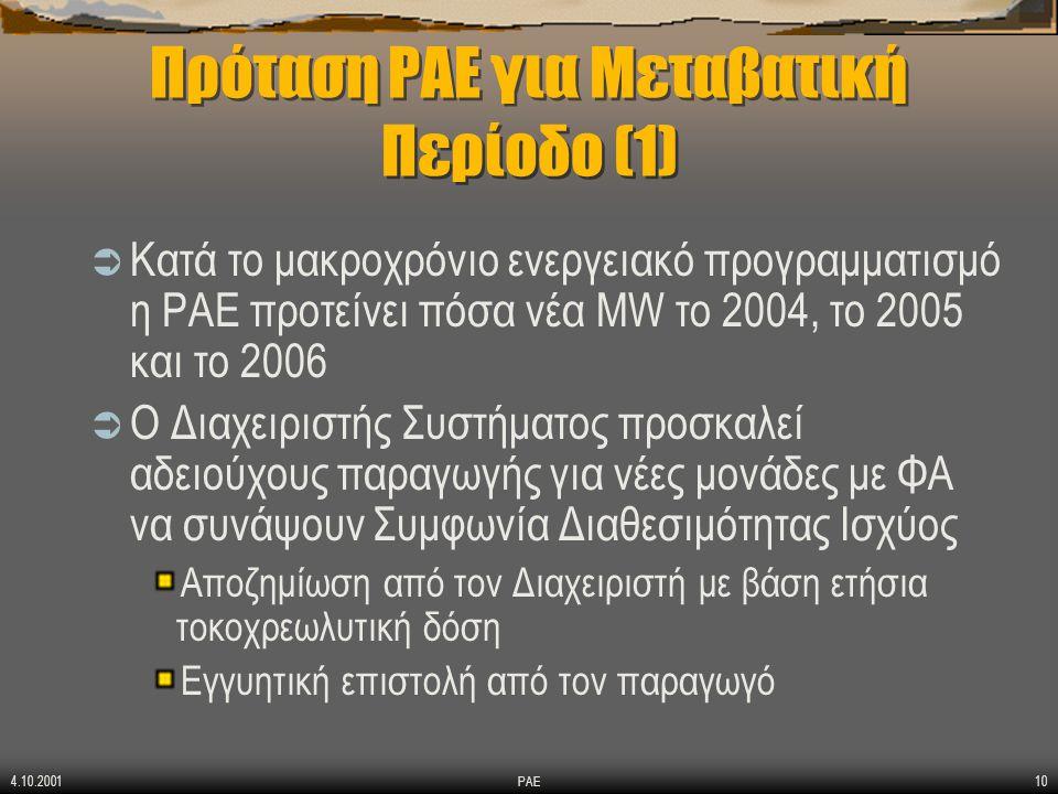 4.10.2001 ΡΑΕ10 Πρόταση ΡΑΕ για Μεταβατική Περίοδο (1)  Κατά το μακροχρόνιο ενεργειακό προγραμματισμό η ΡΑΕ προτείνει πόσα νέα MW το 2004, το 2005 και το 2006  Ο Διαχειριστής Συστήματος προσκαλεί αδειούχους παραγωγής για νέες μονάδες με ΦΑ να συνάψουν Συμφωνία Διαθεσιμότητας Ισχύος Αποζημίωση από τον Διαχειριστή με βάση ετήσια τοκοχρεωλυτική δόση Εγγυητική επιστολή από τον παραγωγό