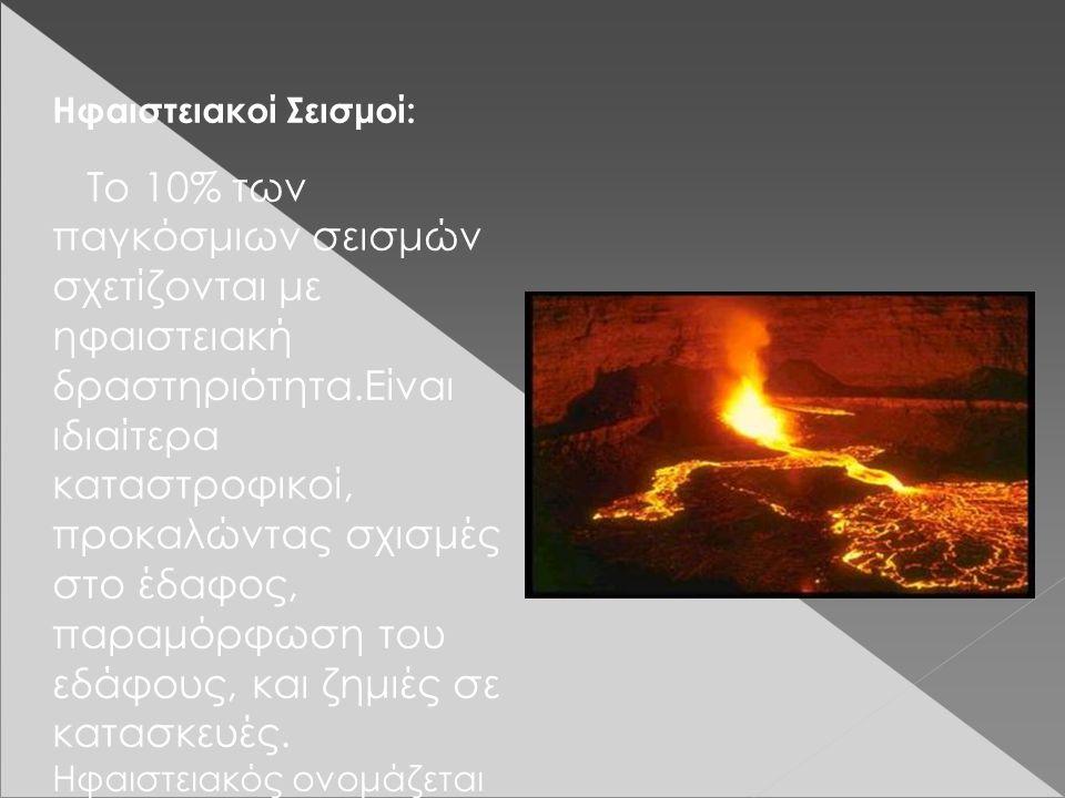 Ηφαιστειακοί Σεισμοί: Το 10% των παγκόσμιων σεισμών σχετίζονται με ηφαιστειακή δραστηριότητα.Είναι ιδιαίτερα καταστροφικοί, προκαλώντας σχισμές στο έδαφος, παραμόρφωση του εδάφους, και ζημιές σε κατασκευές.