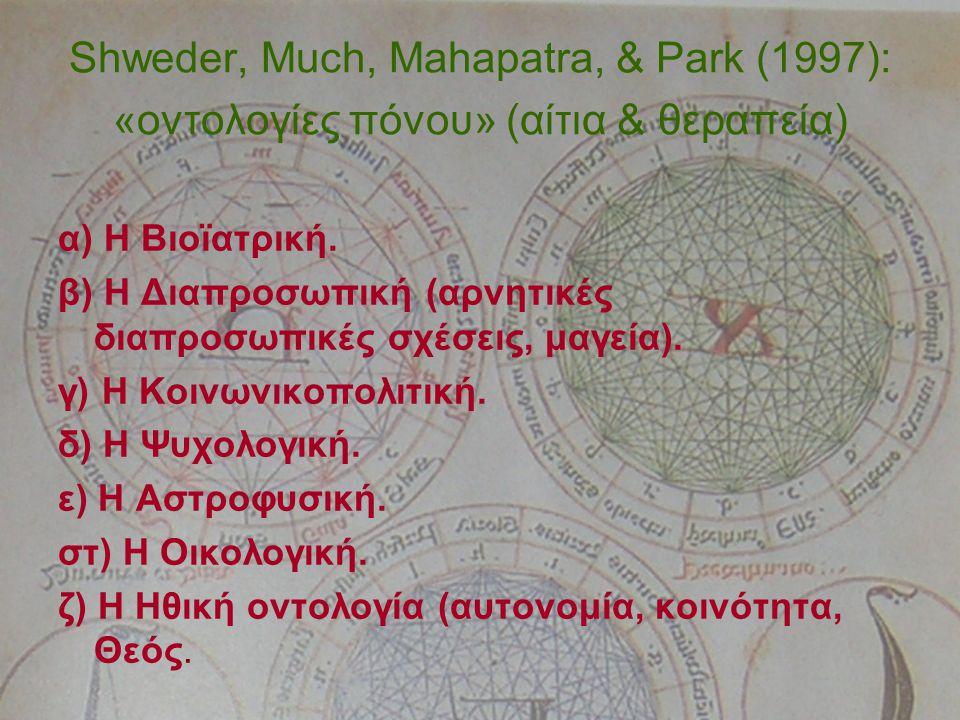 Shweder, Much, Mahapatra, & Park (1997): «οντολογίες πόνου» (αίτια & θεραπεία) α) Η Βιοϊατρική.