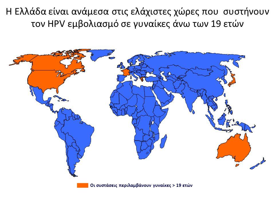 Η Ελλάδα είναι ανάμεσα στις ελάχιστες χώρες που συστήνουν τον HPV εμβολιασμό σε γυναίκες άνω των 19 ετών Οι συστάσεις περιλαμβάνουν γυναίκες > 19 ετών