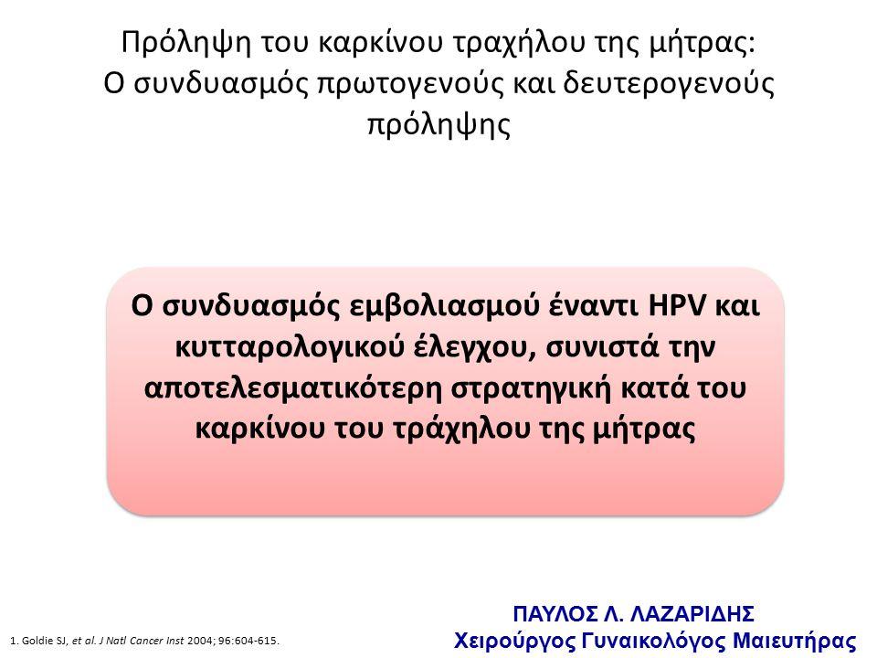 Πρόληψη του καρκίνου τραχήλου της μήτρας: Ο συνδυασμός πρωτογενούς και δευτερογενούς πρόληψης Ο συνδυασμός εμβολιασμού έναντι HPV και κυτταρολογικού έλεγχου, συνιστά την αποτελεσματικότερη στρατηγική κατά του καρκίνου του τράχηλου της μήτρας 1.