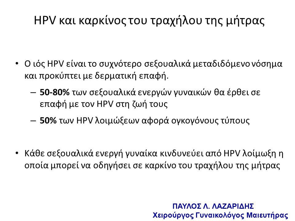 HPV και καρκίνος του τραχήλου της μήτρας Ο ιός HPV είναι το συχνότερο σεξουαλικά μεταδιδόμενο νόσημα και προκύπτει με δερματική επαφή.