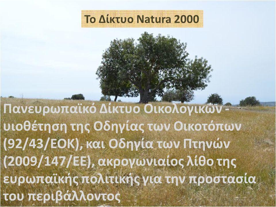Το Δίκτυο Natura 2000 Πανευρωπαϊκό Δίκτυο Οικολογικών - υιοθέτηση της Οδηγίας των Οικοτόπων (92/43/ΕΟΚ), και Οδηγία των Πτηνών (2009/147/ΕΕ), ακρογωνιαίος λίθο της ευρωπαϊκής πολιτικής για την προστασία του περιβάλλοντος