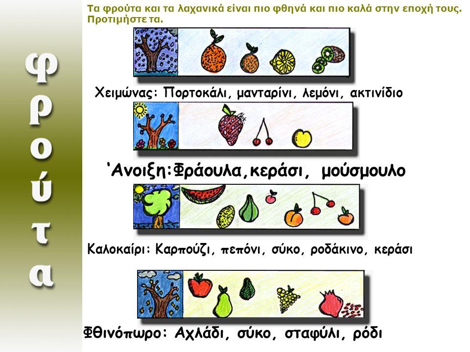 ΚΑΛΟΚΑΙΡΙ: Καρπούζι, πεπόνι, σύκο, κορόμηλο, ροδάκινο, βερύκοκο, κεράσι ΘΙΝΟΠΩΡΟ: Αχλάδι, σύκο, σταφύλι, πόδι Τα φρούτα και τα λαχανικά είναι πιο φθηνά και πιο καλά στην εποχή τους.