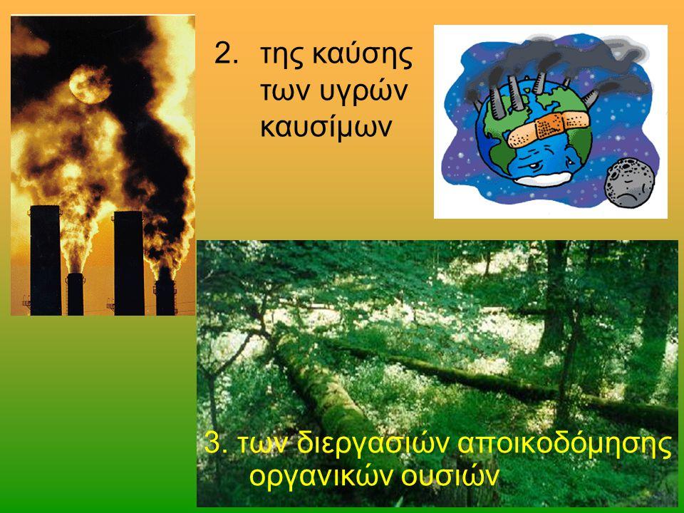 2.της καύσης των υγρών καυσίμων 3. των διεργασιών αποικοδόμησης οργανικών ουσιών