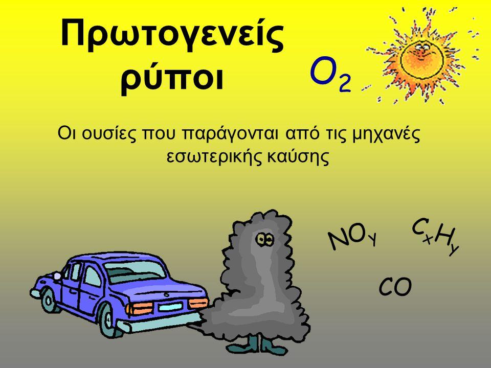 Πρωτογενείς ρύποι Οι ουσίες που παράγονται από τις μηχανές εσωτερικής καύσης ΝΟ y CxHyCxHy CO O2O2