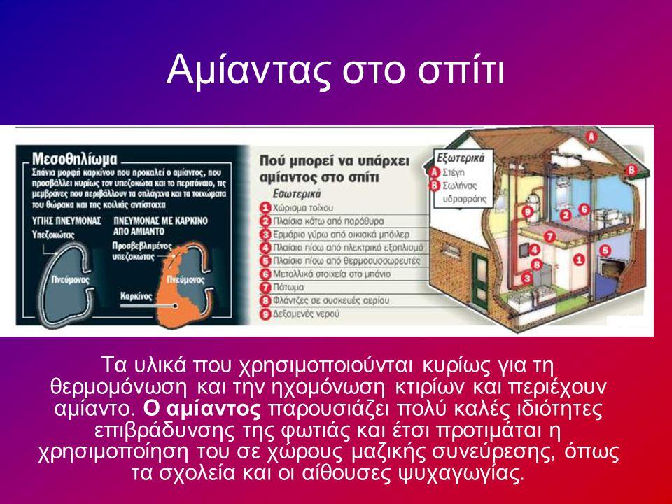 Αμίαντας στο σπίτι Τα υλικά που χρησιμοποιούνται κυρίως για τη θερμομόνωση και την ηχομόνωση κτιρίων και περιέχουν αμίαντο. Ο αμίαντος παρουσιάζει πολ