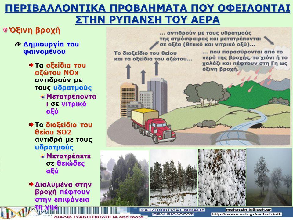 Όξινη βροχή Δημιουργία του φαινομένου οξειδίων του αζώτου ΝOx διοξειδίου του θείου SO2 Απελευθέρωση στην ατμόσφαιρα οξειδίων του αζώτου ΝOx και διοξει
