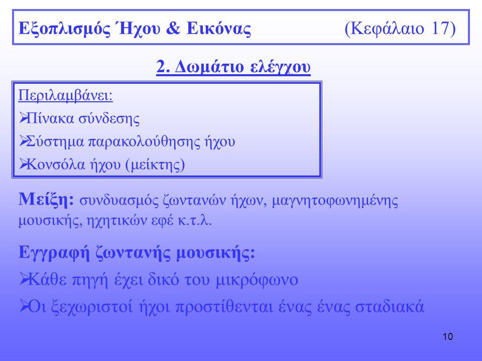 10 Εξοπλισμός Ήχου & Εικόνας (Κεφάλαιο 17) 2. Δωμάτιο ελέγχου Περιλαμβάνει:  Πίνακα σύνδεσης  Σύστημα παρακολούθησης ήχου  Κονσόλα ήχου (μείκτης) Μ