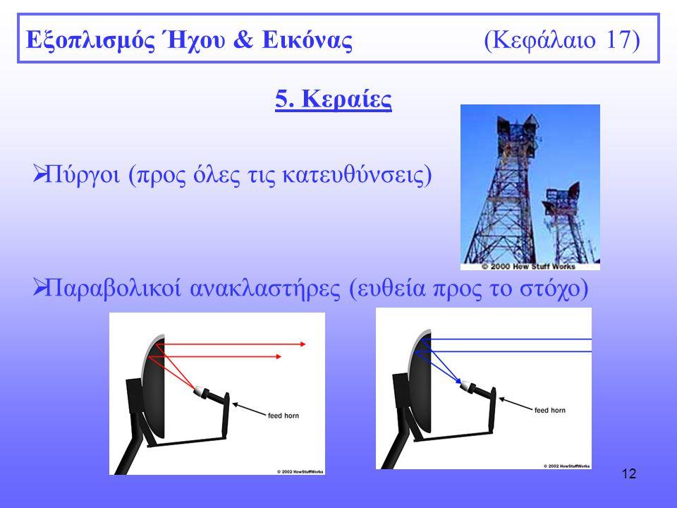 12 Εξοπλισμός Ήχου & Εικόνας (Κεφάλαιο 17) 5. Κεραίες  Πύργοι (προς όλες τις κατευθύνσεις)  Παραβολικοί ανακλαστήρες (ευθεία προς το στόχο)