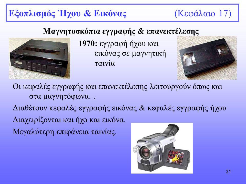 31 Μαγνητοσκόπια εγγραφής & επανεκτέλεσης Εξοπλισμός Ήχου & Εικόνας (Κεφάλαιο 17) 1970: εγγραφή ήχου και εικόνας σε μαγνητική ταινία Οι κεφαλές εγγραφ