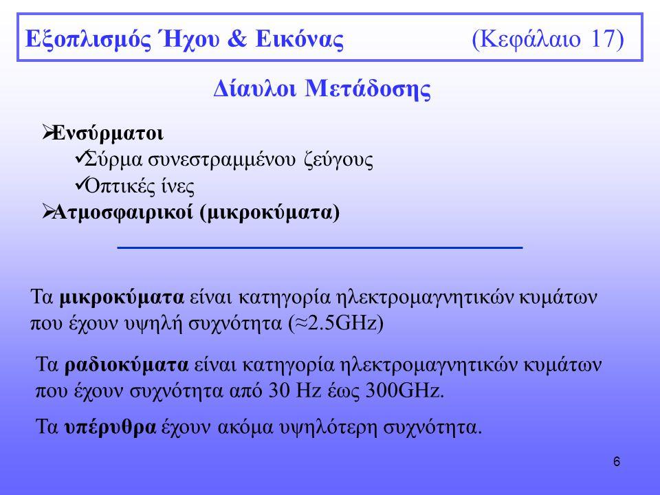 6 Εξοπλισμός Ήχου & Εικόνας (Κεφάλαιο 17) Δίαυλοι Μετάδοσης  Ενσύρματοι Σύρμα συνεστραμμένου ζεύγους Οπτικές ίνες  Ατμοσφαιρικοί (μικροκύματα) Τα μι