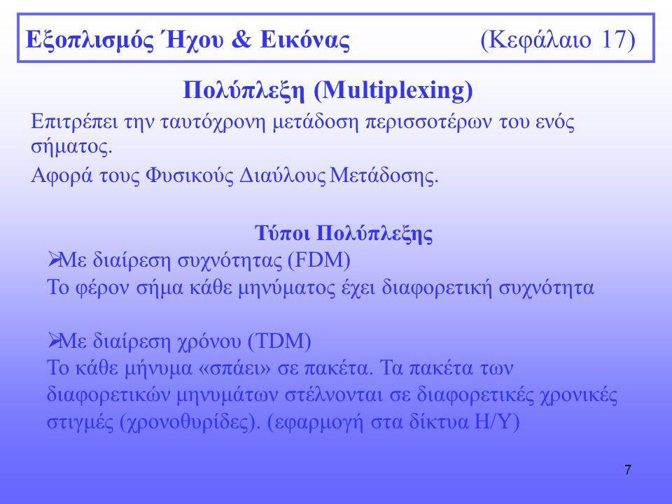 7 Εξοπλισμός Ήχου & Εικόνας (Κεφάλαιο 17) Πολύπλεξη (Multiplexing) Επιτρέπει την ταυτόχρονη μετάδοση περισσοτέρων του ενός σήματος. Αφορά τους Φυσικού